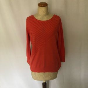 CABLE & GAUGE Coral/Orange Sweater